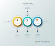 Le label de cercle de l'infographics 3D de vecteur avec des flèches signent et l'option 3 Photo libre de droits
