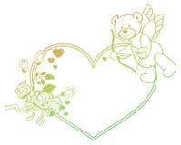 Le label de gradient avec les roses et l'ours de nounours ressemble à un cupidon o Images stock