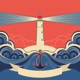 Le label de phare avec l'ancre et la mer bleue ondule illustration libre de droits