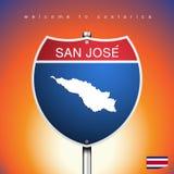Le label de ville et la carte du Costa Rica dans le style américain de signes Photos stock