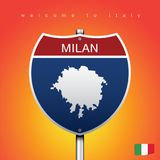 Le label de ville et la carte de l'Italie dans le style américain de signes Photos stock