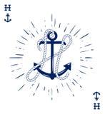 Le label de vintage avec une ancre et la lettre faite de bateau Rope Photo libre de droits