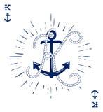 Le label de vintage avec une ancre et la lettre faite de bateau Rope Conception de T-shirt ou d'affiche d'habillement Monogramme  illustration stock