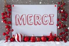 Le label, flocons de neige, boules de Noël, moyens de Merci vous remercient photos libres de droits
