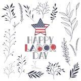 Le label heureux de Fête du travail avec des feuilles encadrent et se tiennent le premier rôle illustration libre de droits