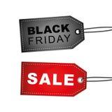Le label noir et rouge de vente noire de vendredi étiquette pour la promotion illustration libre de droits