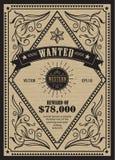 Le label occidental d'antiquité de cadre de vintage a voulu rétro tiré par la main illustration libre de droits