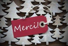 Le label rouge de Noël avec des moyens de Merci vous remercient image stock
