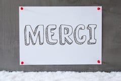 Le label sur le mur de ciment, neige, moyens de Merci vous remercient image stock
