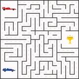 Le labyrinthe badine le jeu avec les voitures de sport et la tasse d'or illustration stock