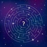 Le labyrinthe rond sur le fond de l'espace, trouvent votre chemin illustration de vecteur