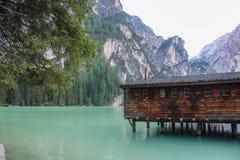Le lac de Braies Photo libre de droits