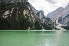 Le lac de Braies Photo stock