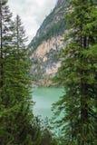 Le lac de Braies Images libres de droits