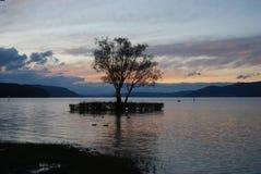 Le Lac de Constance au coucher du soleil Image libre de droits