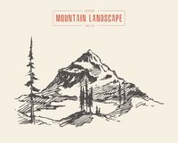 Le lac de paysage de montagne pare le vecteur dessiné illustration de vecteur