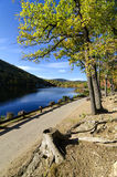 Le lac et le feuillage hessois près soutiennent la montagne, NY. Photo libre de droits