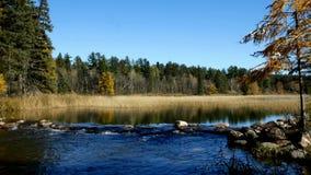 Le lac Itasca s'est tenu derrière un homme fait barrage aux eaux de plus près de la source du fleuve Mississippi au parc d'état d banque de vidéos
