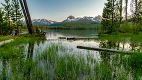 Le lac mountain en Idaho a inondé ses banques avec des wildflowers photos stock