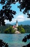 Le lac a saigné en Slovénie Images stock