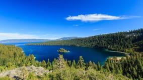 Le lac Tahoe, Emerald Bay et Fannette Island Images stock