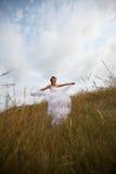 Le lacet blanc a plongé (la mariée en nature) Images stock