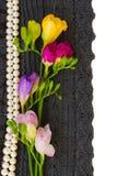 Le lacet fleurit le cadre Image stock