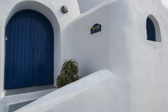 Le lait de chaux de SANTORINI/GREECE loge l'overlookin Photos libres de droits