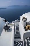 Le lait de chaux de SANTORINI/GREECE loge l'overlookin Photo libre de droits