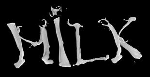 Le lait de mot de l'alphabet laiteux photographie stock libre de droits