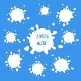 Le lait marque l'ensemble de vecteur La conception d'éclaboussure et de tache, forment créatif Photographie stock libre de droits