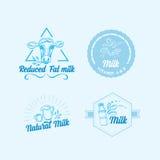Le lait naturel avec éclabousse, conception d'icônes Produit sain Photos libres de droits