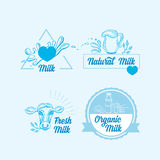 Le lait naturel avec éclabousse, conception d'icônes Produit sain Images libres de droits