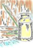 Le lait peut sur le seuil Croquis et pastel illustration stock