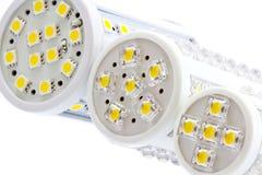 Le lampadine del LED con 1 e 3 scheggiano SMD LED Fotografia Stock