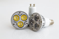 Le lampadine del LED riscaldano GU10 e E14 bianchi Fotografie Stock