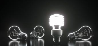 Le lampadine di vetro classiche del mazzo con uno di loro si sono accese royalty illustrazione gratis