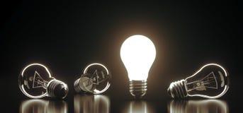 Le lampadine di vetro classiche del mazzo con uno di loro si sono accese illustrazione vettoriale
