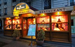 Le Languedoc is traditional French restaurant located on Boulevard de Port Royal in Paris. Paris , France-May 19, 2019 : Le Languedoc is traditional French royalty free stock image