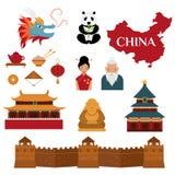 Le lanterne tradizionali cinesi e gli oggetti della cultura vector l'illustrazione royalty illustrazione gratis