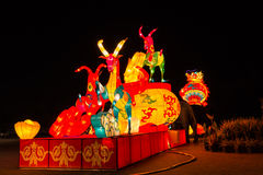 Le lanterne variopinte nella notte Fotografia Stock