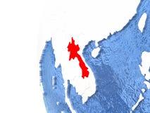 Le Laos sur le globe Image libre de droits