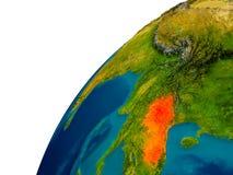 Le Laos sur le globe Image stock
