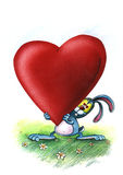 Le lapin bleu d'amour apporte le coeur Image libre de droits