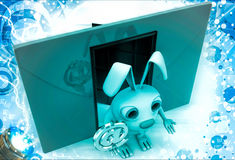 le lapin 3d avec le rouge enveloppent à coté et @ illustration disponible de signe d'email Photographie stock