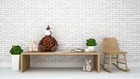 Le lapin de rat et la poupée de girafe badinent le rendu de room-3d illustration libre de droits