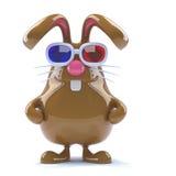 le lapin du chocolat 3d observe un film 3d Image stock