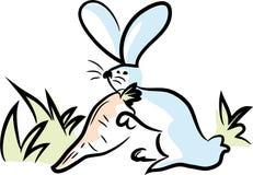 Le lapin tient la grande carotte illustration libre de droits