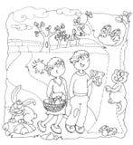 Le lapin vers le haut des enfants basculent avec des champignons dans l'échine de paysage de forêt colorant les enfants humoristi Image stock