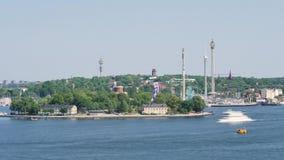 Le laps de temps à Stockholm d'un parc d'attractions a appelé Gröna Lund banque de vidéos